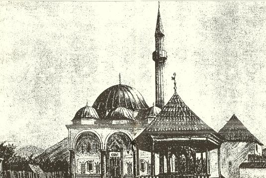 Kizlar-agina - Mustafa-agina džamija  u Varcar Vakufu s početka XX stoljeća - crtež nepoznatog autora