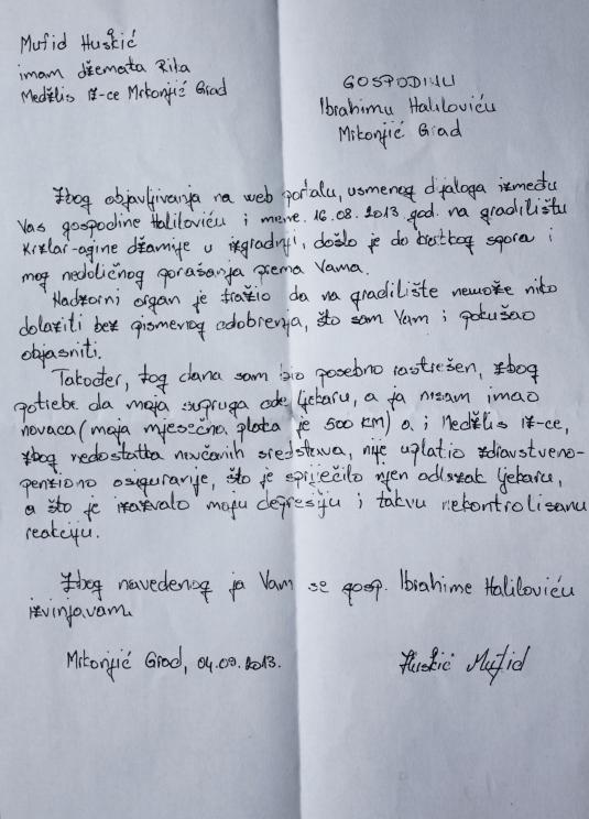 huskićevo pismo izvinjenja