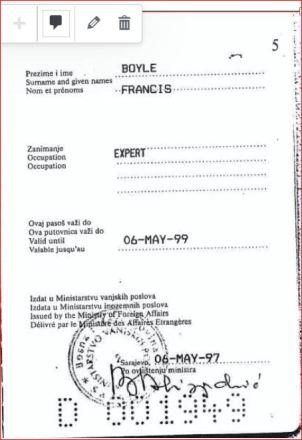 Boyle, dipl. pasoš, 1